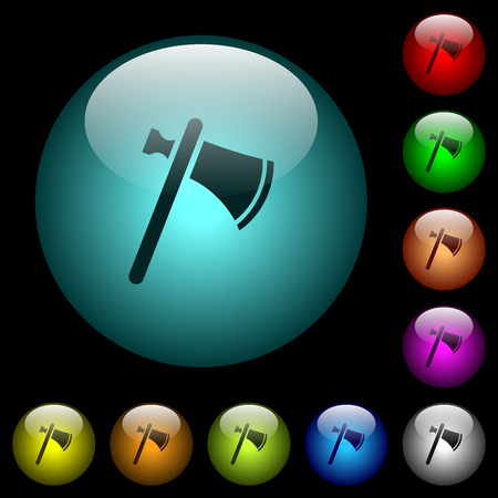 Single tomahawk icons in color illuminated spherical glass buttons on black background. Can be used to black or dark templates