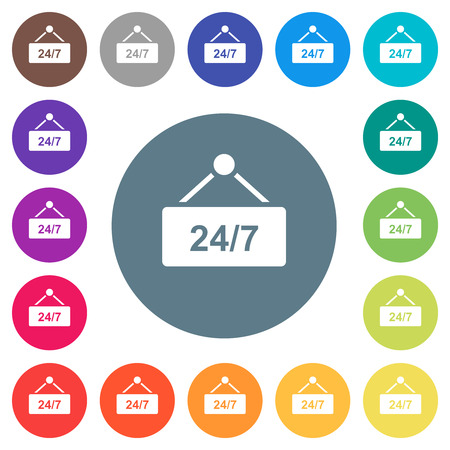 hanging table with 24h seven days a week flat white icons on round color backgrounds. 17 background color variations are included.