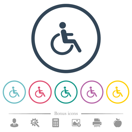 Disability flat color icons in round outlines. 6 bonus icons included.