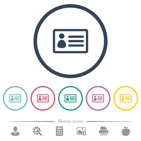 Iconos de color plano de tarjeta de identificación en contornos redondos. Se incluyen 6 iconos de bonificación.