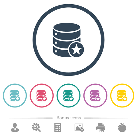 Marked database flat color icons in round outlines. 6 bonus icons included.