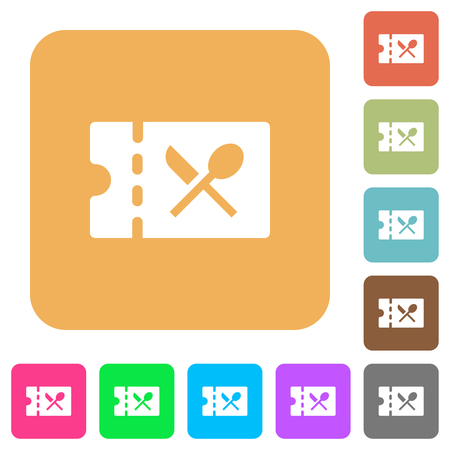 Catering discount coupon flat icons on rounded square vivid color backgrounds.