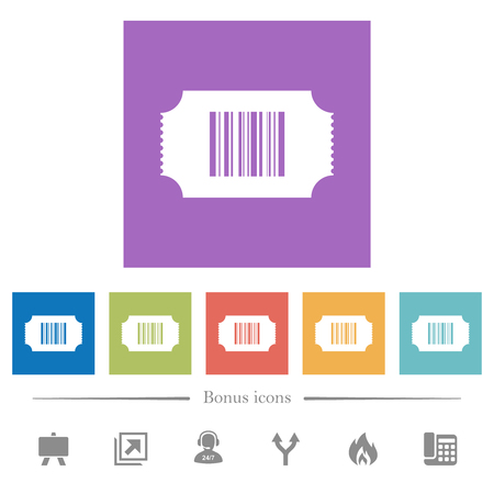 Ticket with barcode flat white icons in square backgrounds. 6 bonus icons included.