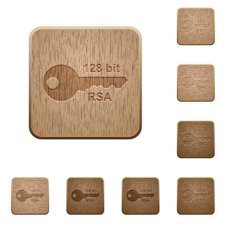 128 bit rsa encryption on rounded square carved wooden button styles Ilustração