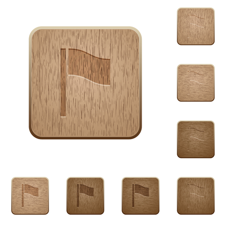 Flag on rounded square carved wooden button styles