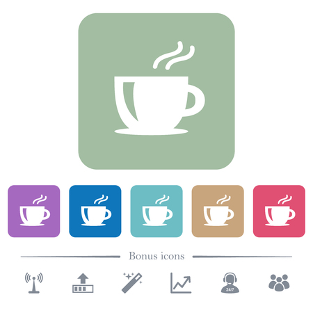 Cappuccino white flat icons on color rounded square backgrounds. 6 bonus icons included