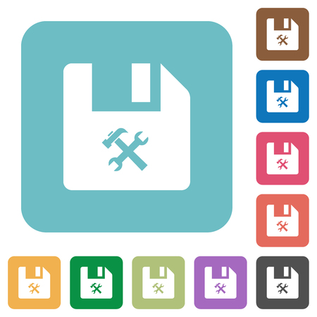 File tools white flat icons on color rounded square backgrounds