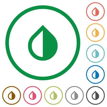 Invert colors flat color icons in round outlines on white background