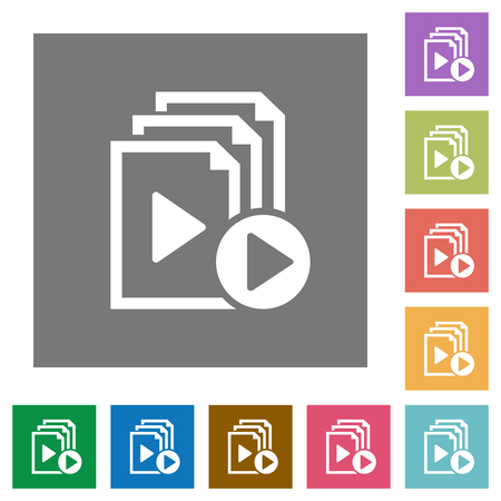 Start playlist flat icons on simple color square backgrounds