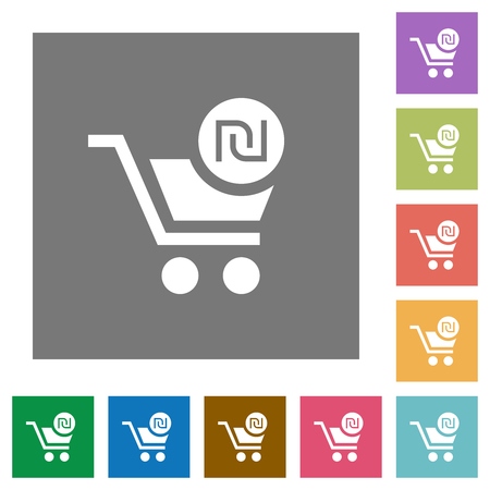 Checkout with new Shekel cart flat icons on simple color square backgrounds Stockfoto - 126786130
