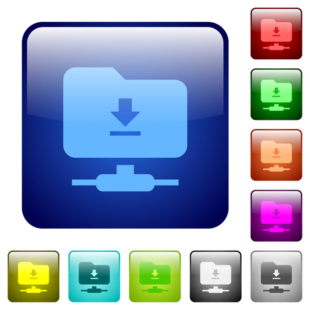 Download from ftp icons in rounded square color glossy button set