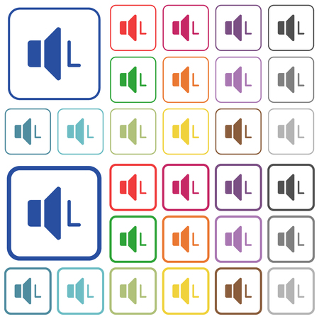 Left audio channel color flat icons in rounded square frames. Thin and thick versions included. Illustration