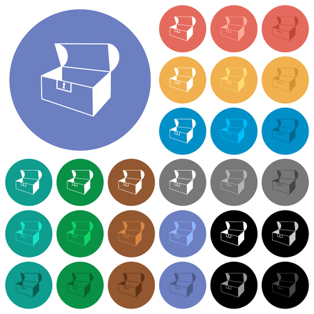 Empty open coffer multi colored flat icons on round backgrounds. Included white, light and dark icon variations for hover and active status effects, and bonus shades. Vettoriali