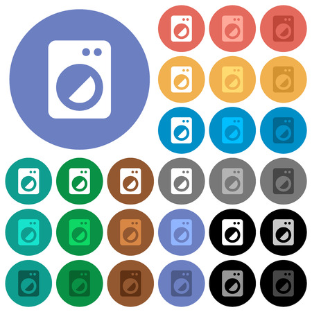 Washing machine multi colored flat icons on round backgrounds. Included white, light and dark icon variations for hover and active status effects, and bonus shades.
