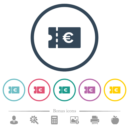 Euro discount coupon flat color icons in round outlines. 6 bonus icons included.