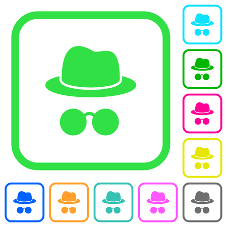 Incognito with glasses vivid colored flat icons in curved borders on white background