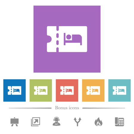 Accommodation discount coupon flat white icons in square backgrounds. 6 bonus icons included.  イラスト・ベクター素材