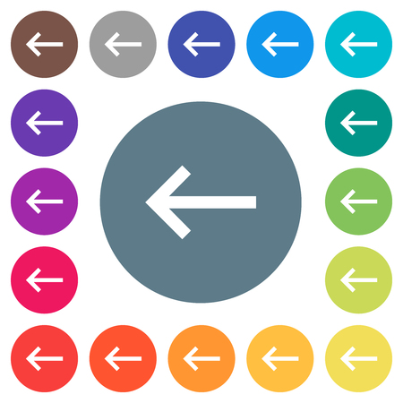 Keyboard tab flat white icons on round color backgrounds. 17 background color variations are included. Vector Illustration