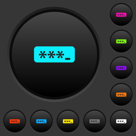 PIN code dark push buttons with vivid color icons on dark grey background