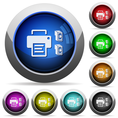 Printer and ink cartridges icons in round glossy buttons with steel frames