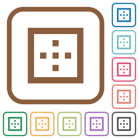 Outer borders simple icons in color rounded square frames on white background Illustration