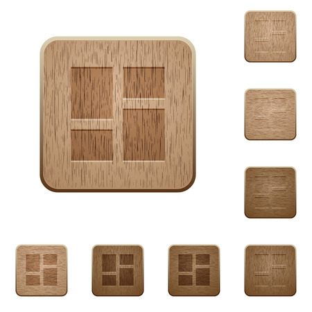 Admin dashboard panels on rounded square carved wooden button styles