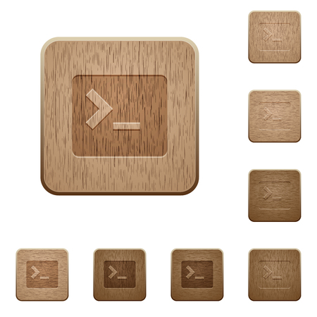 Command terminal on rounded square carved wooden button styles