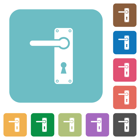 Left handed door handle with screws white flat icons on color rounded square backgrounds