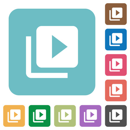 Video library white flat icons on color rounded square backgrounds Illustration