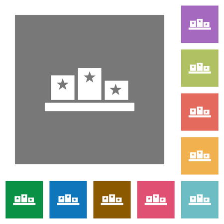 Winners podium with inside stars flat icons on simple color square backgrounds
