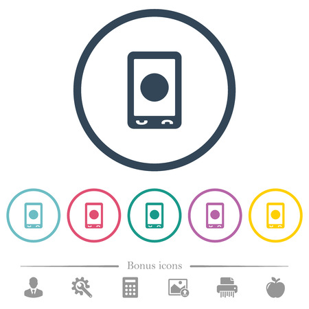 Mobile media record flat color icons in round outlines. 6 bonus icons included.