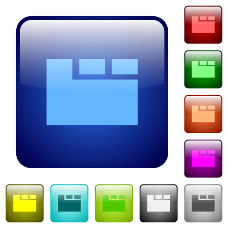 Horizontal tabbed layout active icons in rounded square color glossy button set