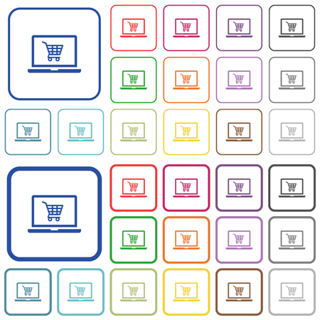 Webshop color flat icons in rounded square frames. Thin and thick versions included.