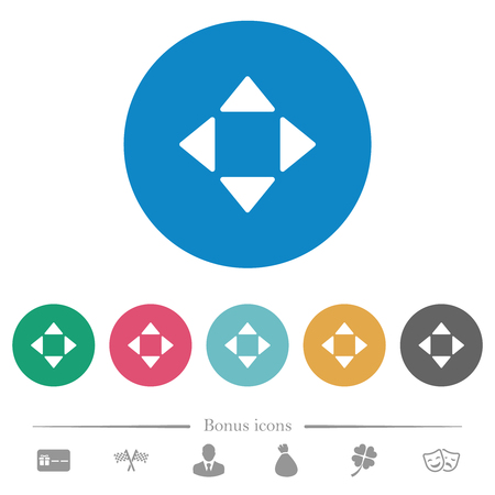 Control arrows flat white icons on round color backgrounds. 6 bonus icons included. Vectores