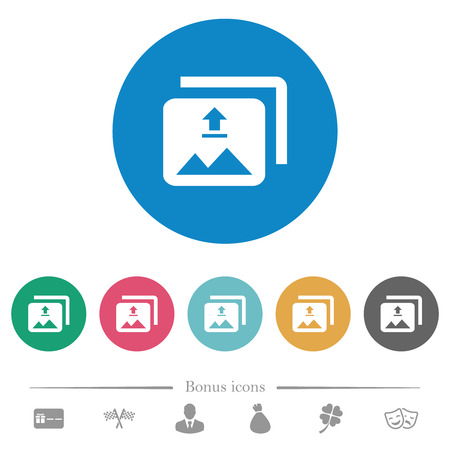 Upload multiple images flat white icons on round color backgrounds. 6 bonus icons included.