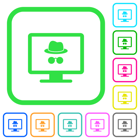 Monitor with incognito symbol vivid colored flat icons in curved borders on white background