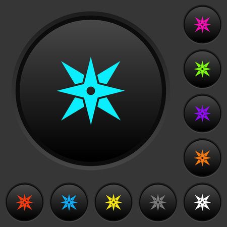 Compass dark push buttons with vivid color icons on dark grey background