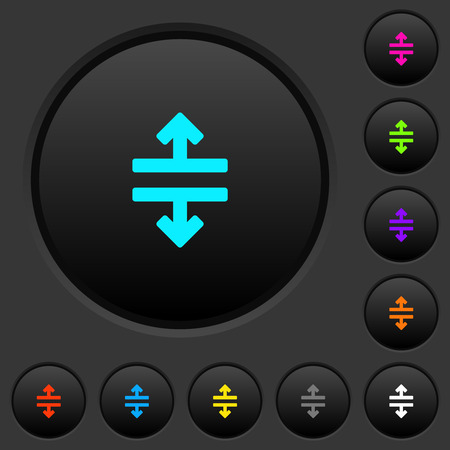 Horizontal split dark push buttons with vivid color icons on dark grey background