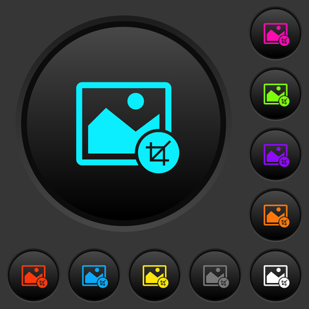 Crop image dark push buttons with vivid color icons on dark grey background