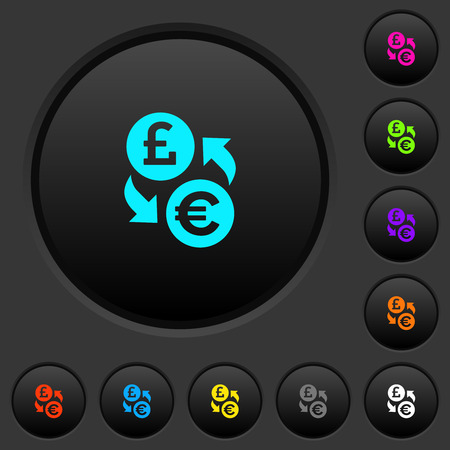 Pound Euro money exchange dark push buttons with vivid color icons on dark grey background