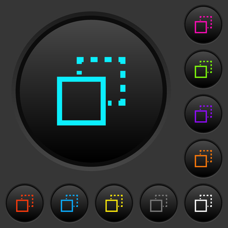 Send element to back dark push buttons with vivid color icons on dark grey background