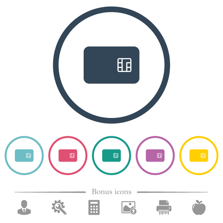 Chip card flat color icons in round outlines. 6 bonus icons included. Vecteurs