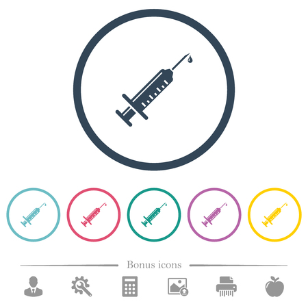 Syringe with drop flat color icons in round outlines. 6 bonus icons included. Illustration