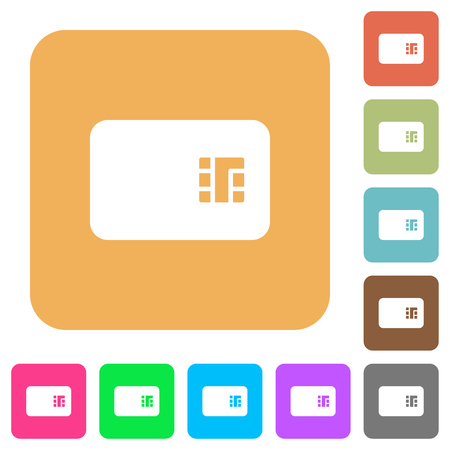 Chip card flat icons on rounded square vivid color backgrounds. Foto de archivo - 126715739