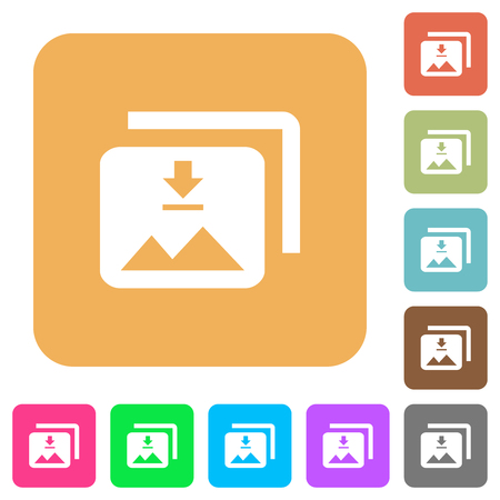 Download multiple images flat icons on rounded square vivid color backgrounds. 向量圖像
