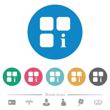 Component information flat white icons on round color backgrounds. 6 bonus icons included. Illustration