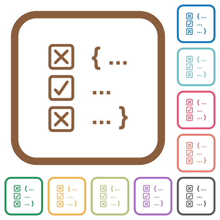 Source code checking simple icons in color rounded square frames on white background