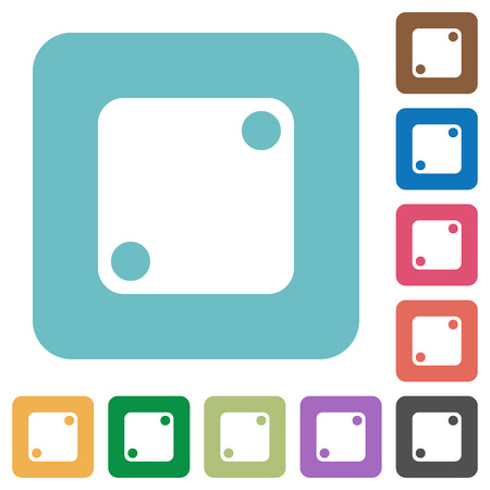 Domino two white flat icons on color rounded square backgrounds Vectores