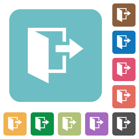 Leave white flat icons on color rounded square backgrounds