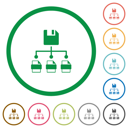 Save file as multiple format flat color icons in round outlines on white background Illustration